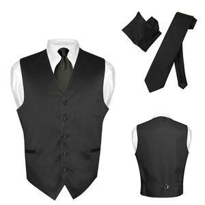 Men's Dress Vest NeckTie Hanky Solid Color